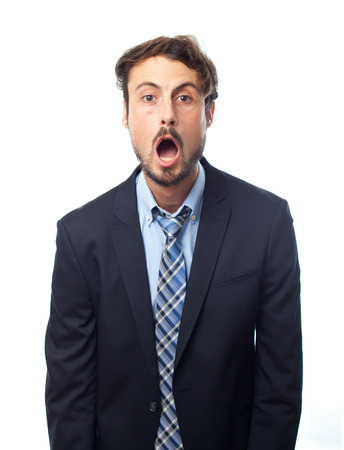 young crazy businessman surprised face