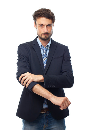 entrepeneur: young crazy businessman facing to a challenge Stock Photo