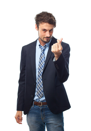 young crazy businessman money gesture photo