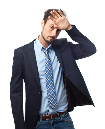 bother: young crazy businessman boring gesture