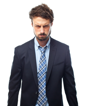 young crazy businessman angry face Banque d'images