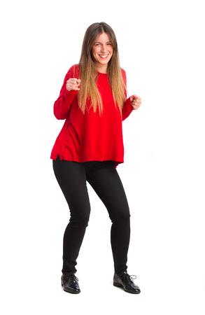 young cool girl dancing photo