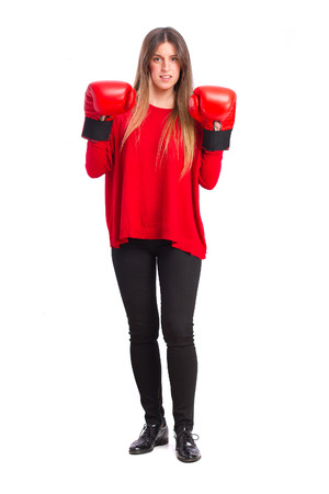 young cool girl with boxing globes photo
