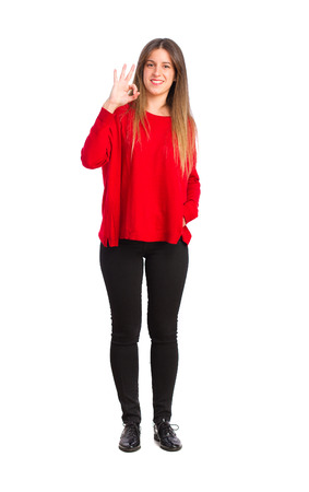 posing  agree: young cool girl ok gesture