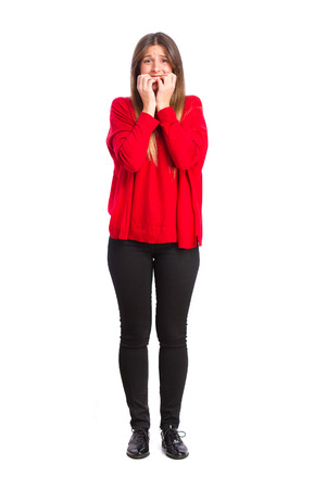 nervousness: young cool girl scared gesture Stock Photo
