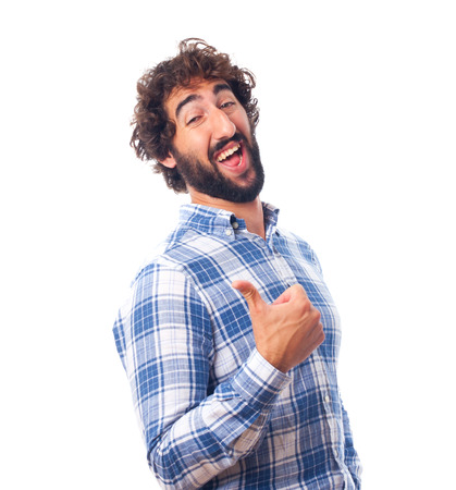conform: young bearded man Stock Photo