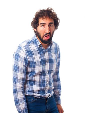 crestfallen: young bearded man Stock Photo