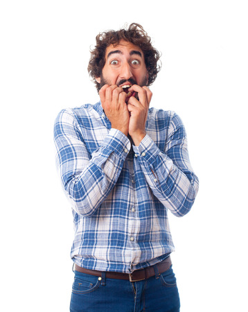scared man gesture Stock Photo