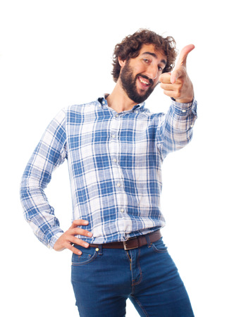 young man pointing you gesture