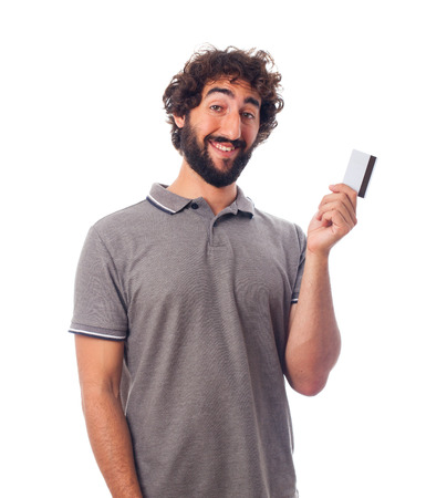 young bearded man with a credit card Stock Photo
