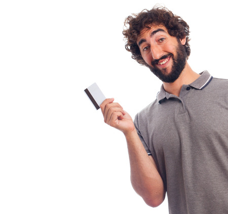 humoristic: young bearded man with a credit card Stock Photo