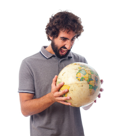 young bearded man with world globe Stock Photo