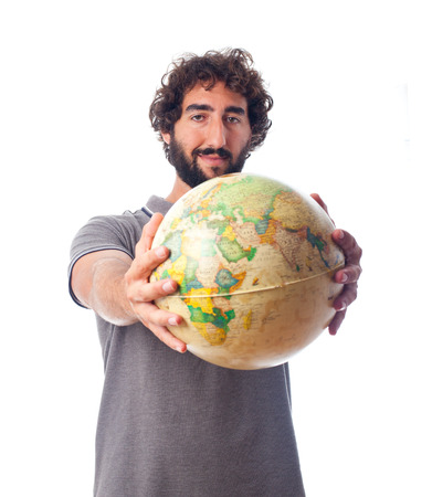 humoristic: young bearded man with world globe Stock Photo