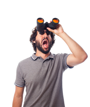 strangeness: young bearded man with binoculars