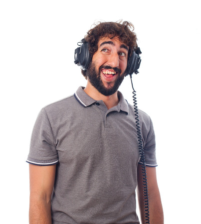 young bearded man with headphones