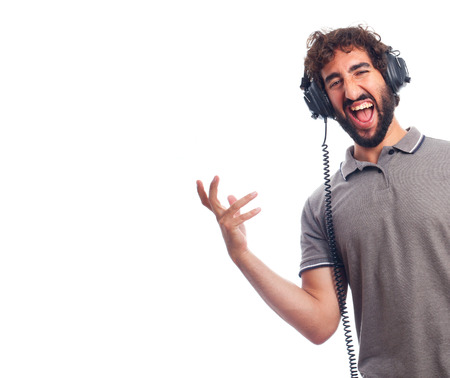 humoristic: young bearded man with headphones