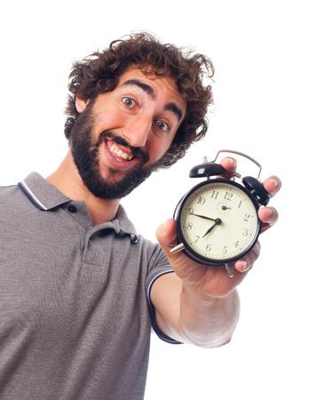 humoristic: hombre barbudo joven con un reloj