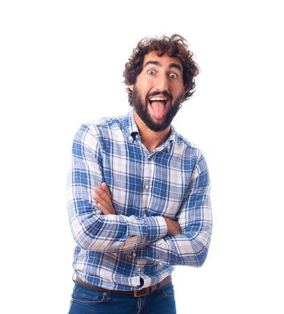 sticking out tongue: joven sacando la lengua