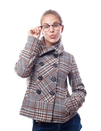 arrogant teen: young cool woman with glasses