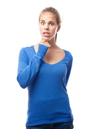dudando: Mujer joven fresca dudar Foto de archivo