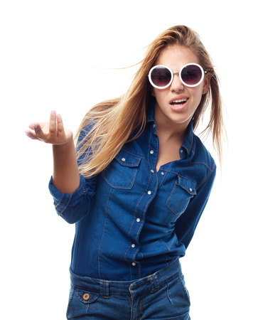 questionable: young cool woman confused Stock Photo