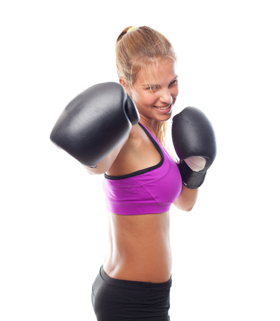 young cool woman boxing photo