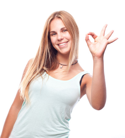 conform: young cool woman okay gesture Stock Photo
