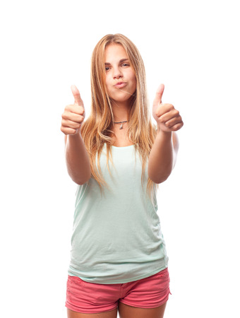 conform: young cool woman all right gesture Stock Photo