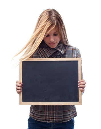 young cool woman with a blackboard photo