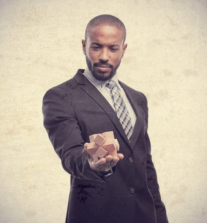 entrepeneur: young cool black man offering a problem Stock Photo