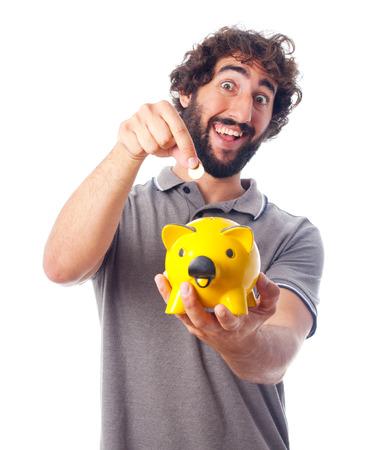 young crazy man savings concept