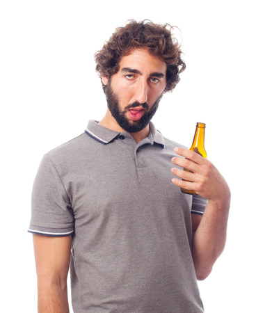 ugly people: young crazy man drunk concept
