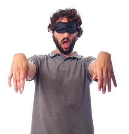 young crazy man sleepwalker concept