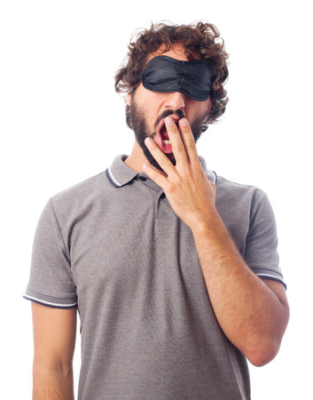 somnambulism: young crazy man yawning