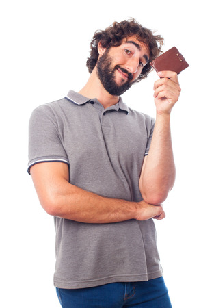 joking: young crazy man with a wallet Stock Photo