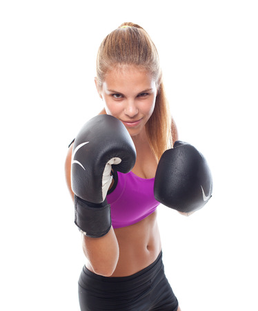 sportwoman: young cool woman boxing