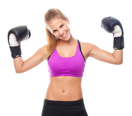 female boxing: young cool woman boxing