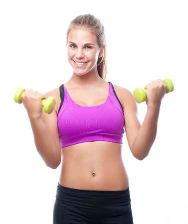exersice: young cool woman with dumbbells