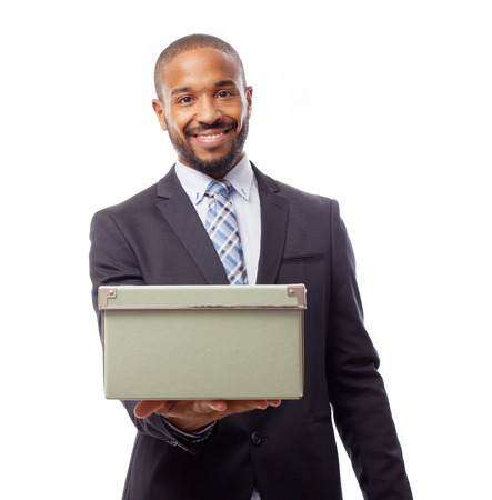 young cool black man offering a box Stock Photo