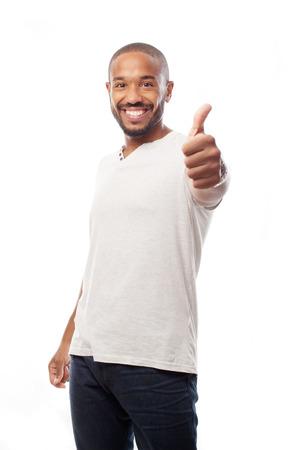 joven hombre negro fresco todo signo rignt
