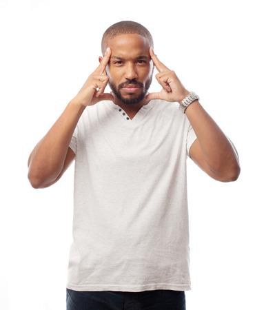 black man thinking: young cool black man thinking Stock Photo