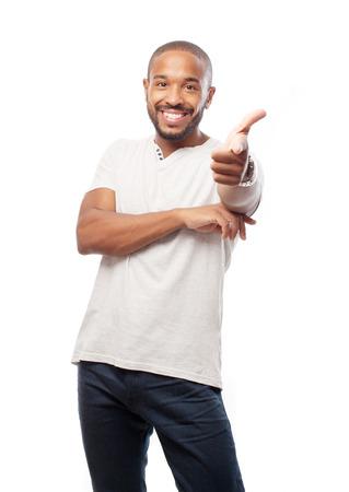 Junge coolen schwarzen Mann zeigen Standard-Bild - 35048037