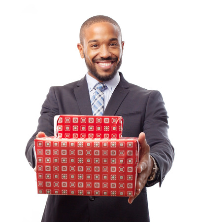 young cool black man with boxes photo