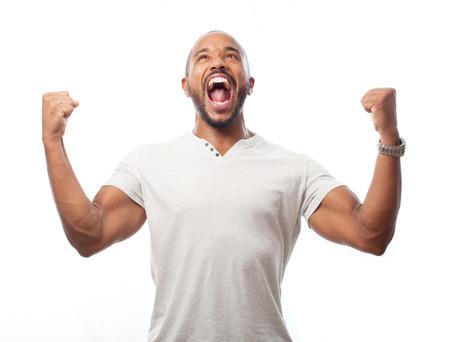 jeune homme noir fraîche signe célébrer Banque d'images