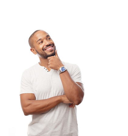 man face: young cool black man thinking Stock Photo