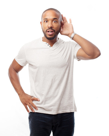 young cool black man trying to listen Stockfoto