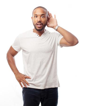 young cool black man trying to listen Standard-Bild