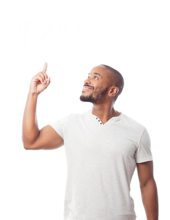 man pointing up: young cool black man pointing up