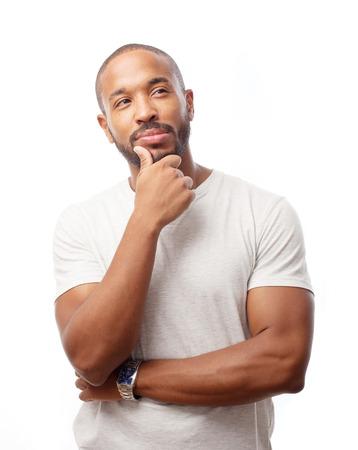 Junge coolen schwarzen Mann Denken Standard-Bild - 35048228