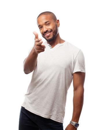 young cool black man shoot sign